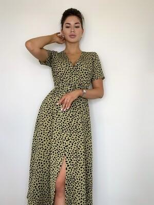 Платье миди, имитация запаха зеленый