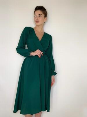 Платье миди, имитация запаха с поясом, Зелёный