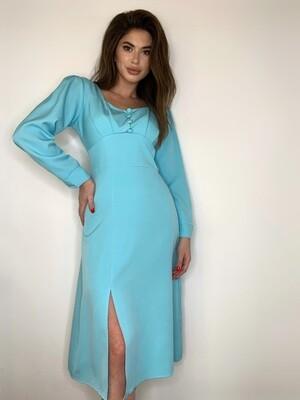 Платье миди с пуг. Голубой