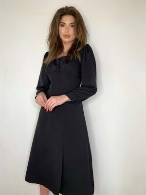 Платье миди с пуг.  Черный