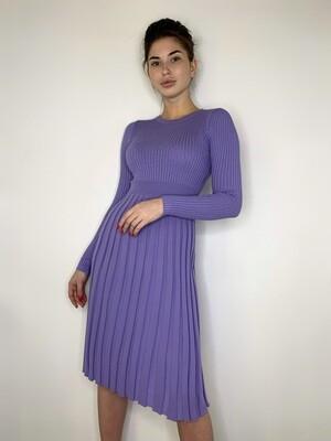 Платье миди, трикотаж плиссе, Лаванда