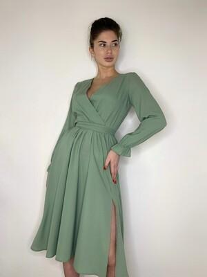 Платье миди, имитация запаха с поясом, Мята