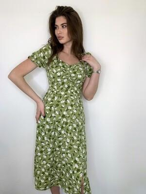 Платье миди с белыми цветами, кв. вырез Салатовый