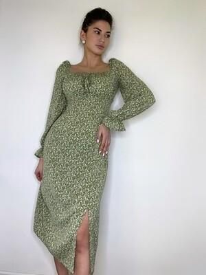 Платье миди, с квадратным вырезом в цветок Зеленый