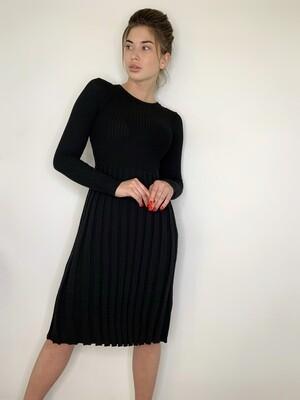 Платье миди, трикотаж плиссе, Черный