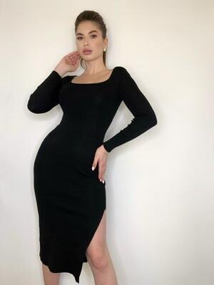 Платье миди, трикотаж с длинными рукавами Черный
