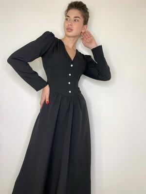 Платье миди, широкий пояс с пуг. Черный