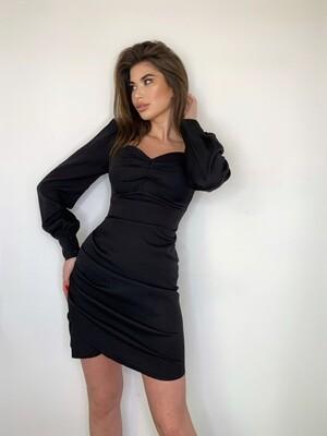Платье мини, сборка с боку Черный