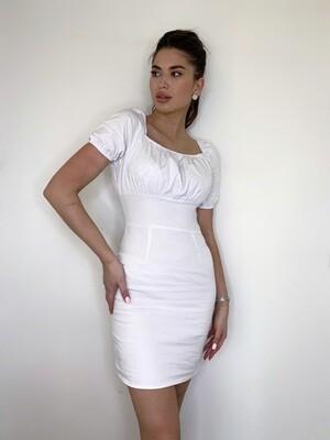 Платье мини, хлопок, квадратный вырез Белый