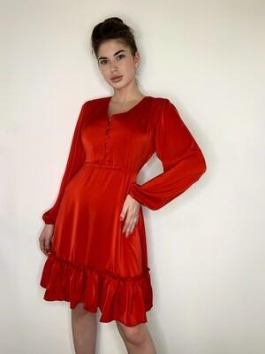 Платье мини с пуговицами, завязочки по бокам. Красный