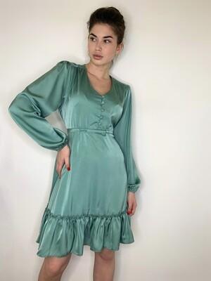 Платье мини с пуговицами, завязочки по бокам. Оливковый