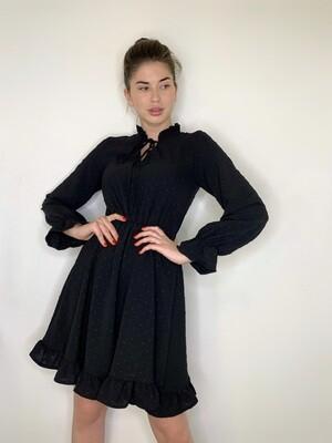 Платье мини с воланами, завязки на груди Черный