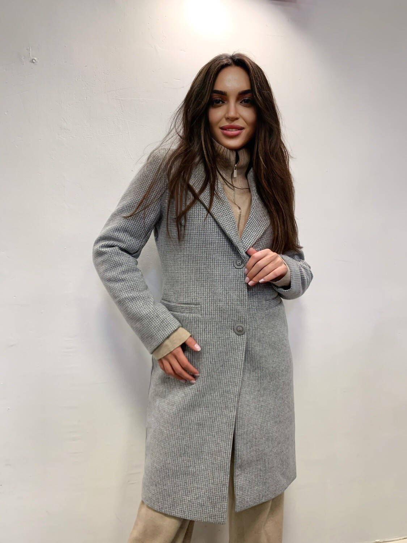 Пальто в клетку Серый 44