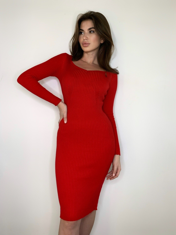 """Платье миди """"Лапша"""" с вырезом сердце, длин.рукав Красный"""