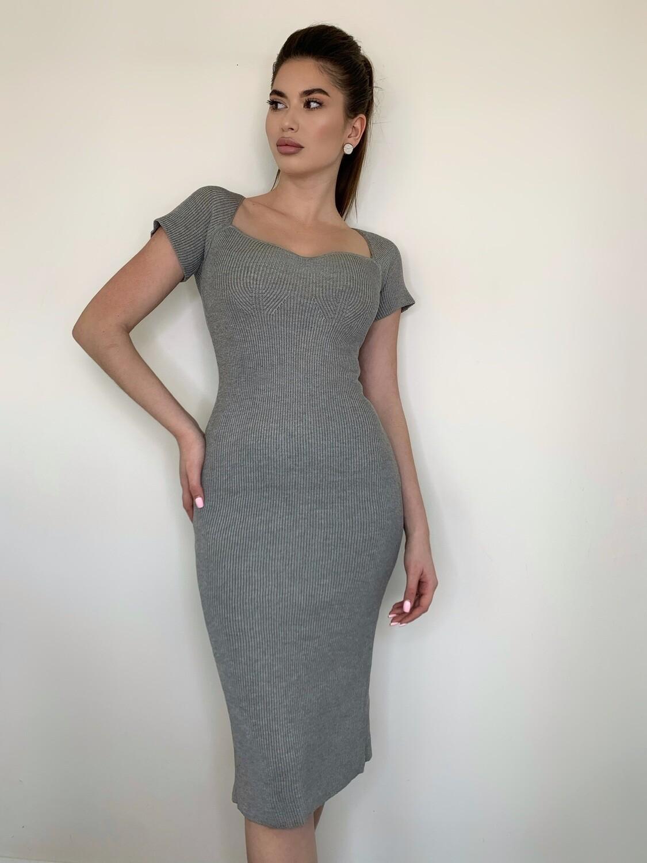 "Платье миди с короткими рукавами ""Вязка""Серый"
