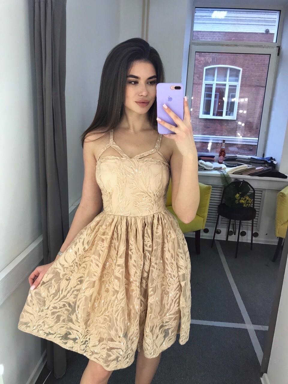 Платье с пайетками  Бежевый