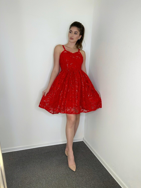 Платье с пайетками Красный