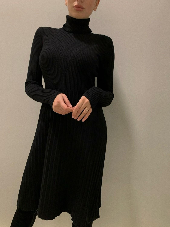 Платье миди лапша плиссе Черный