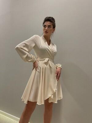 """Платье на запах,мини с длинными рукавами """"Атлас"""" Бежевый"""