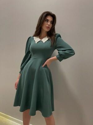 Платье клеш с воротничком Зеленый
