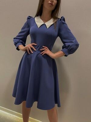 Платье клеш с воротничком Синий