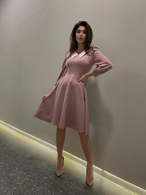 Платье клеш с воротничком Розовый