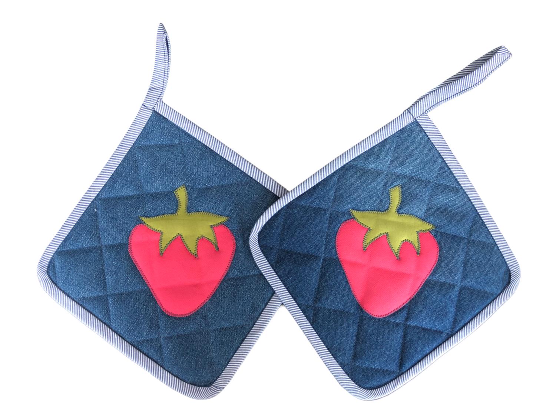 Topflappen aus Jeans Upcycling - Erdbeere
