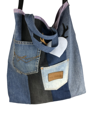 Shopping-Büdel Herzgeweih Upcycling Jeans