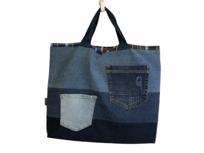 Kunst - Tragetasche für A3 -Sammelmappen im Jeans Upcycling