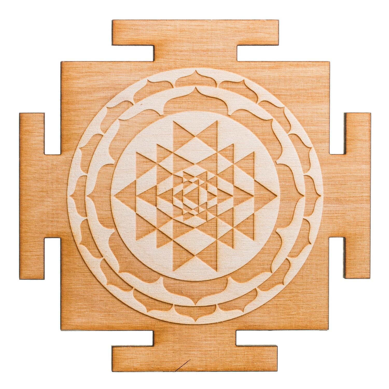 Sri Yantra Wooden Plaque