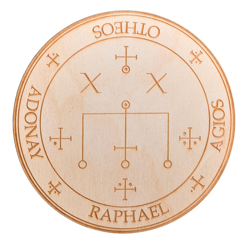 Archangel Raphael Wooden Angel Altar Plaque