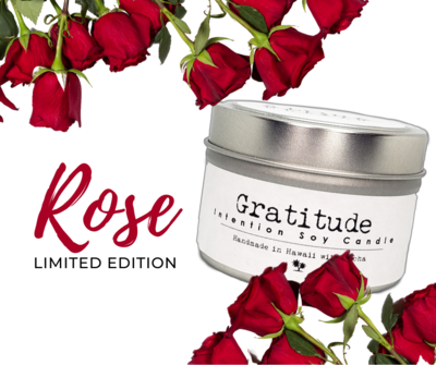 Gratitude Soy Candle limited edition Red Rose