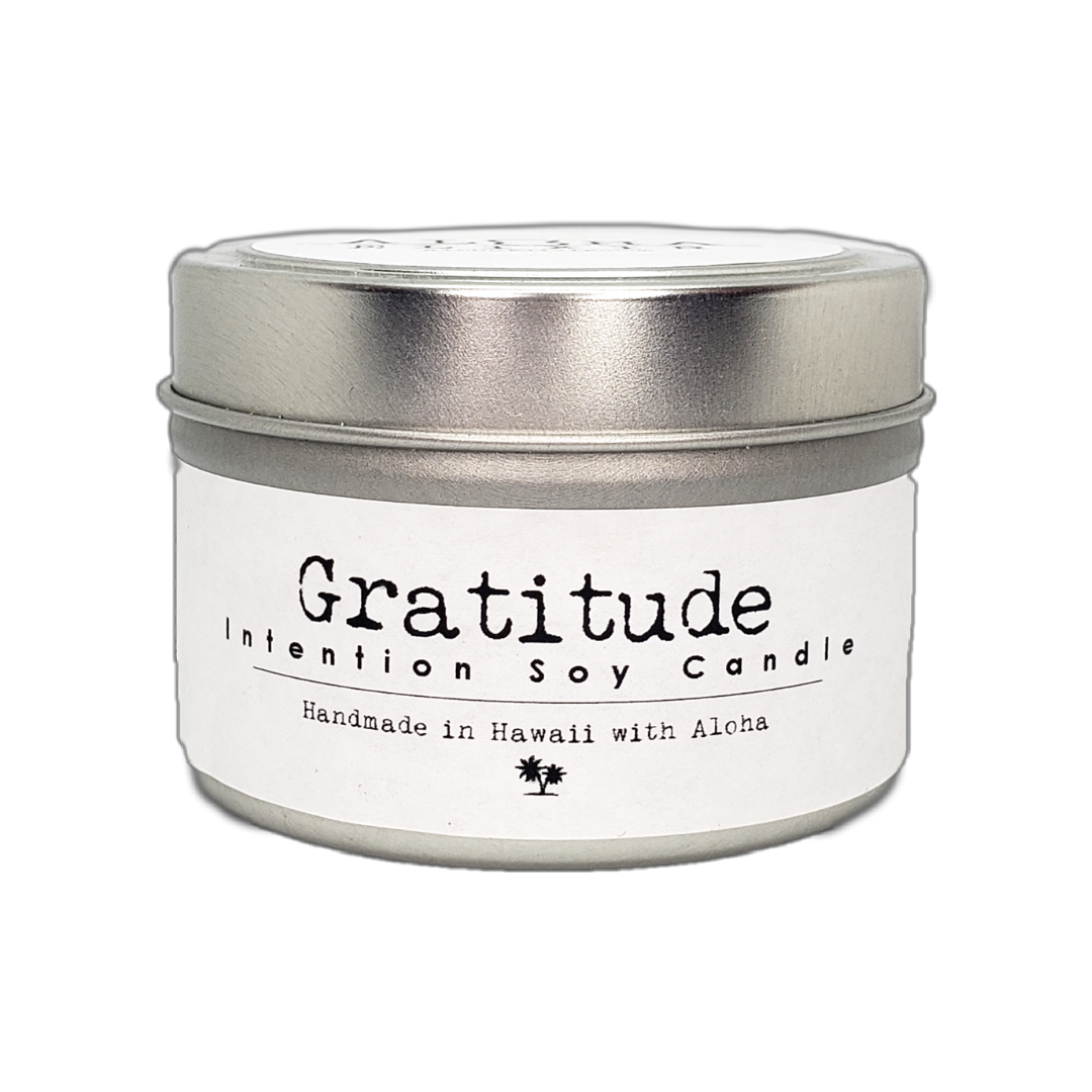 Gratitude Soy Intention Candle 4oz Travel Tin Red Rose 🌹  Quartz and Blue gold stone Crystal  Aloha Elixir Made in Hawaii