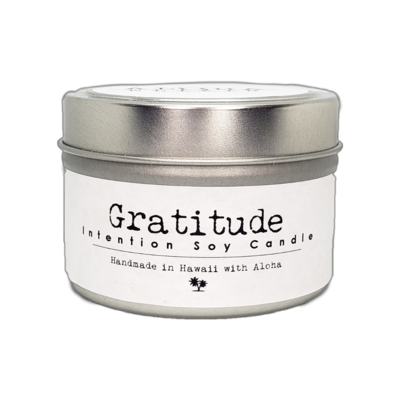 Holiday Gratitude Soy Intention Candle 4oz Travel Tin Windsong Balsam Pine Quartz and Blue gold stone Crystal  Aloha Elixir Made in Hawaii