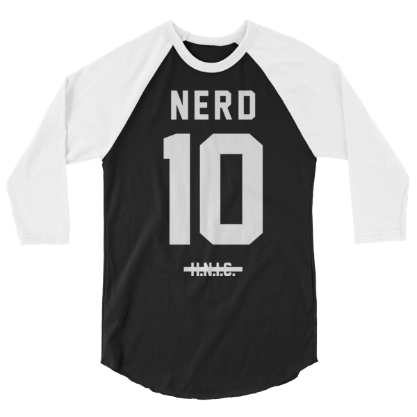 NERD White Jersey 3/4 Sleeve Raglan Shirt