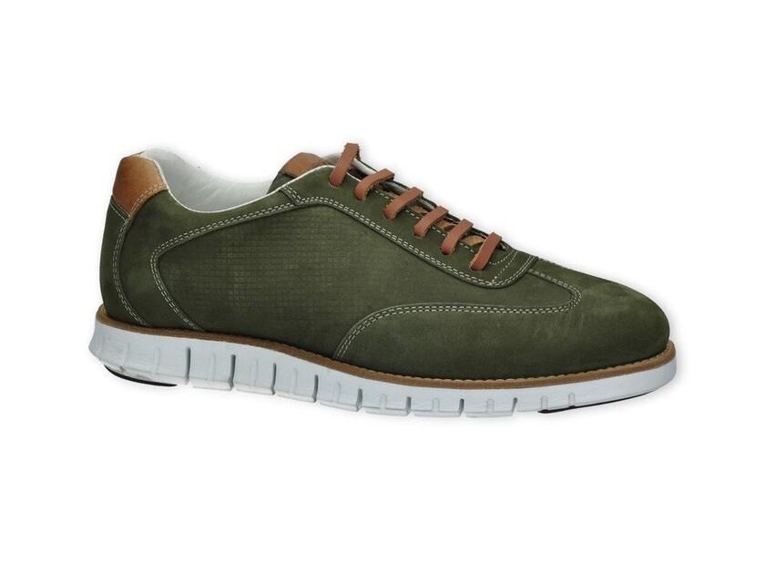 Jenszen heren sneakers groen/ wit leer 1100