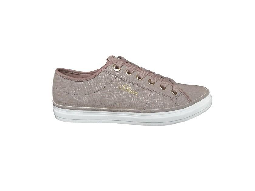 s.oliver dames sneaker in peper en goud kleur