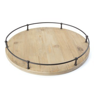 Round Wooden Tray with Metal Trim