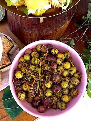 Azeitonas Confit marinadas com Limão Verde e Siciliano  e Azeite Extra Virgem
