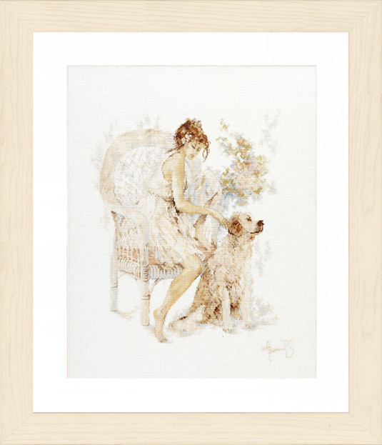 Lanarte Girl in Chair with Dog by Willem Haenraets