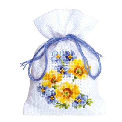Vervaco Blauwe en Gele Bloemen III