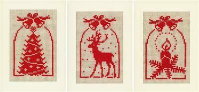 Vervaco Hert, Kaars en Kerstboom set van 3