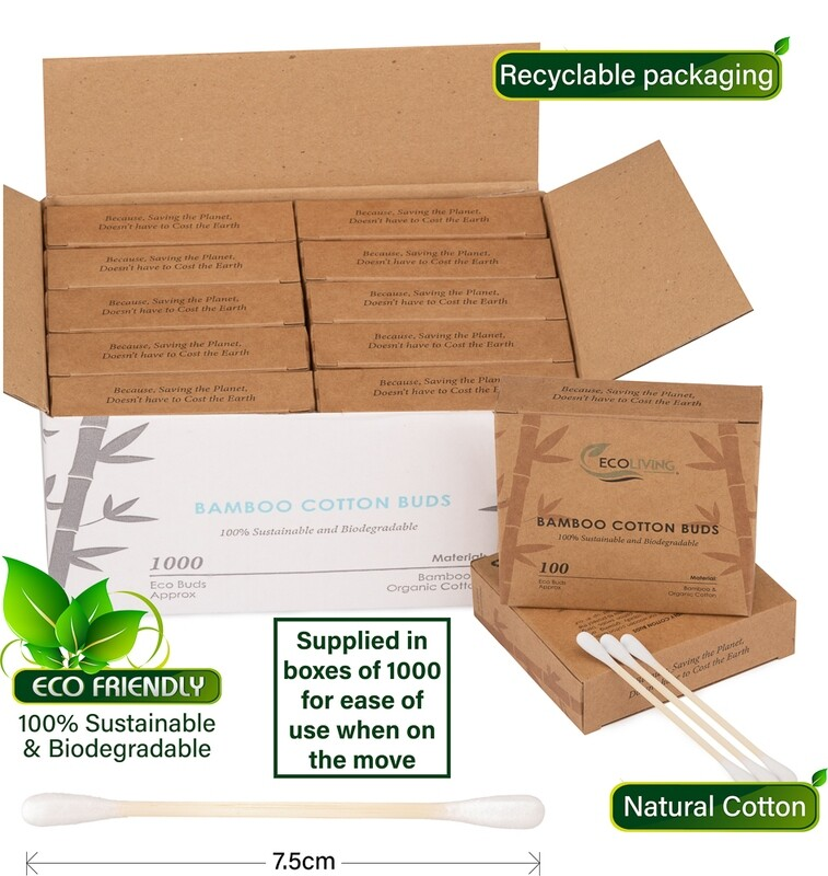Eco-friendly Cotton Buds – Bamboo – Biodegradable – Environmentally Friendly - 10 Boxes of 100 Buds Per Pack