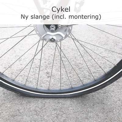 Lapning - Cykel (Ny cykelslange, incl. montering)