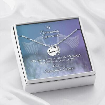 Send Special Message Card (Mom Angel Pendant)- Custom Design Service Only