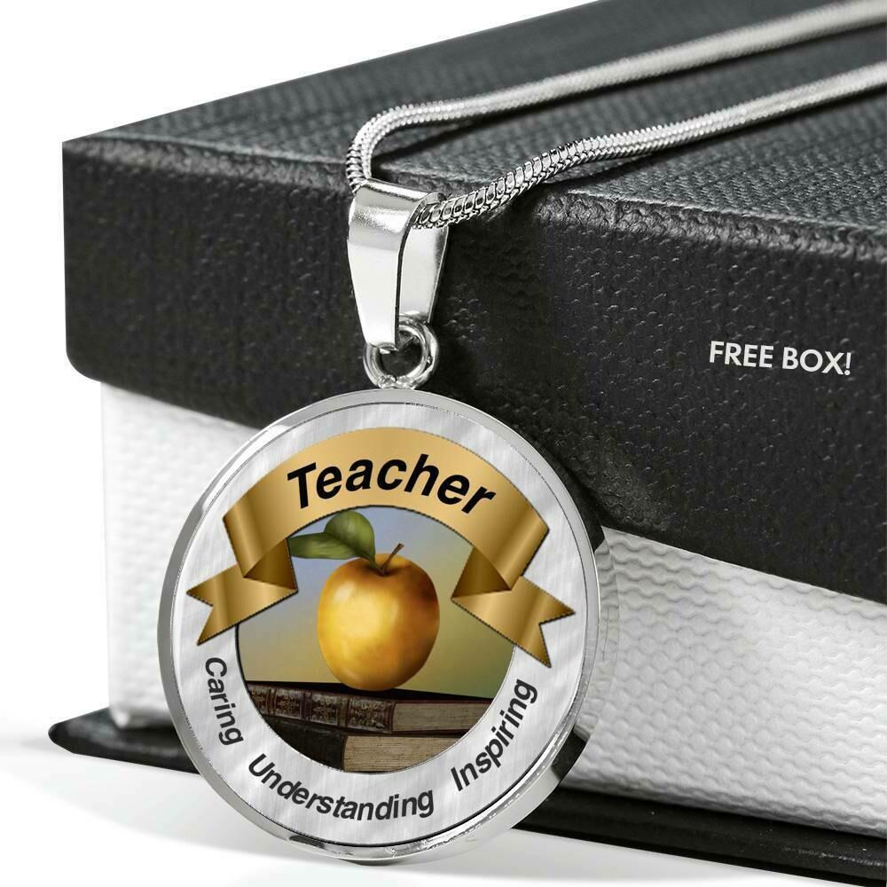 Teacher Golden Apple Necklace
