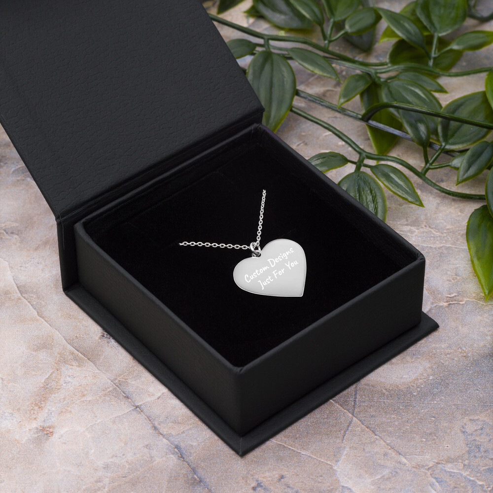 Engraved  Heart Necklace - Custom Designed