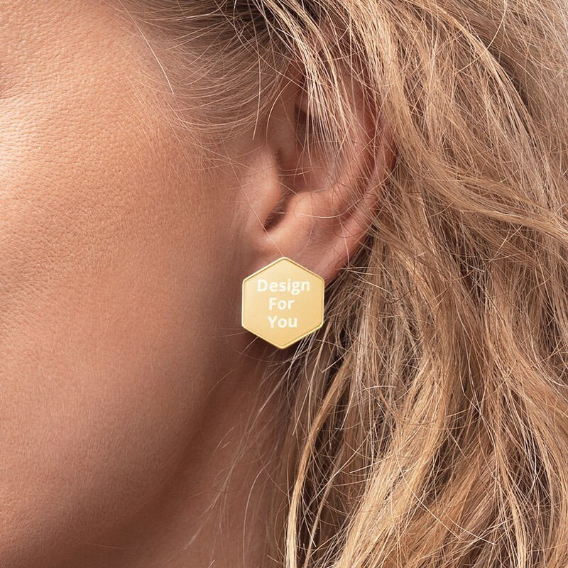 Sterling Silver Hexagon Stud Earrings - Custom Designed