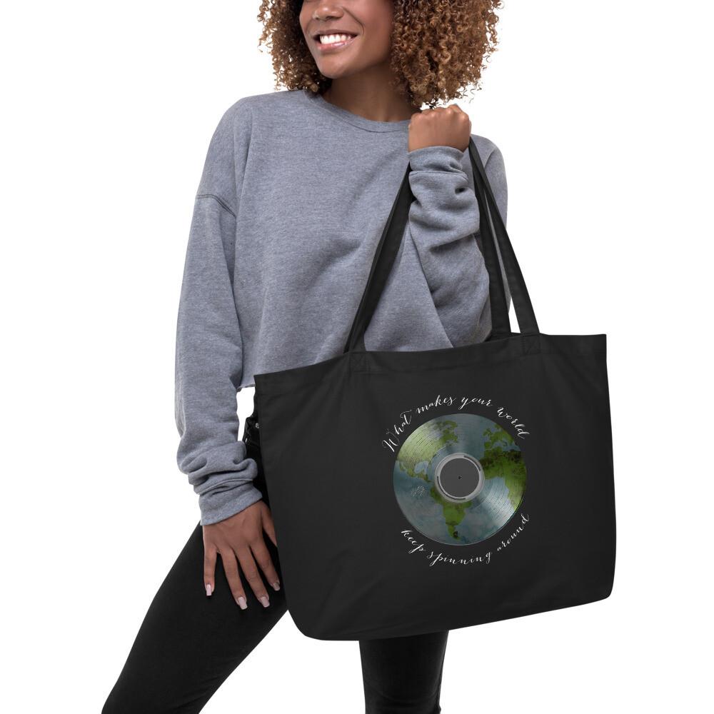 """""""Spinning Around"""" Large organic tote bag"""