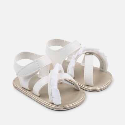 White Ruffle Sandals 9131B - 17